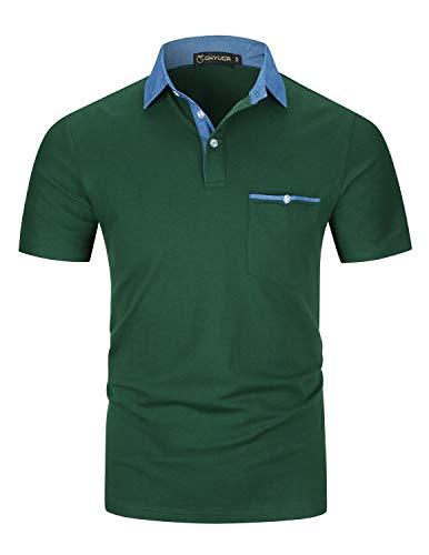GHYUGR Poloshirts Herren Kurzarm Baumwolle Polohemd Denim Golf T-Shirt S-XXL,Grün,L -