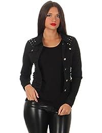 11287 Fashion4Young Damen Jeansjacke Damenjacke Jeans Jacke Kurze Jacke Nieten schwarz