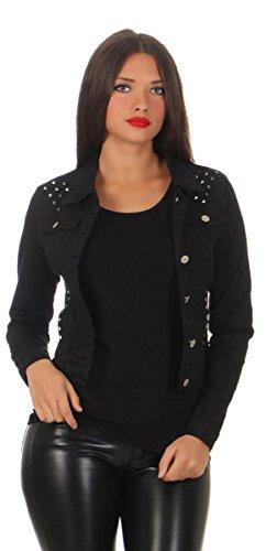 11287 Fashion4Young Damen Jeansjacke Damenjacke Jeans Jacke Kurze Jacke Nieten schwarz (L=40, schwarz)