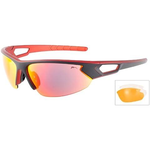 Occhiali da sole SPORTIVI/Occhiali da sole RELAX/R5300C/Lenti polycarbonate di qualità superiore/Lenti colore: smoke REVO GALLEGGIANTI , cat.protezione 2(18-43% trasmissione della luce visibile)/Protezione totale UVA, UVB e UVC, lenti UV400/Sport-Ciclismo-Sci-Driving-Moto-Arrampicata/Telaio polycarbonate ultraresistente, ultraleggero/NERO-Rosso