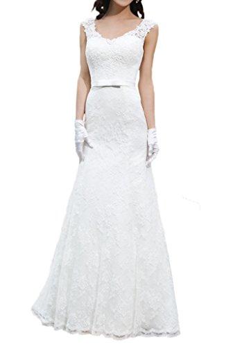 Milano Bride Damen Brillante Traeger Etui-Linie Hochzeitskleider Brautkleider Brautmode Spitzenkleider Schleife Schleppe Weiß