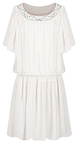 sexylady - Robe - Pull - Manches Courtes - Femme taille unique Blanc