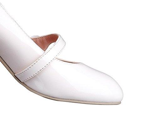AllhqFashion Damen Schnalle Quadratisch Zehe Mittler Absatz Rein Pumps Schuhe Weiß