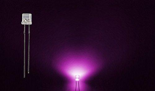 ProGoods 50x LED 5mm pink flach | radial bedrahtete Leuchtdiode | energieeffizienter als herkömmliche Lampen | für Modellbau,Innenraumbelechtung,usw. | Antistatikverpackung | lange Lebensdauer