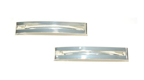 Pair of Double Straight Bar Clip-in End Barrettes, Hair Slides. (Silver) by Top Brand (Barrette)