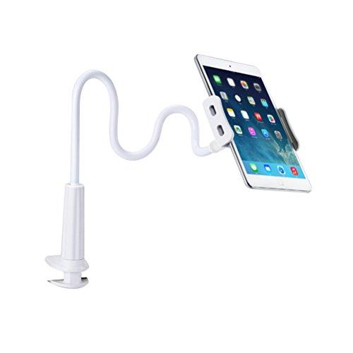 YeahiBaby Handy Ständer Halter Universal Tablet Clip Halter Flexible Lange Arme Schwanenhals 360 Rotierenden Halter für Desktop Schlafzimmer Büro (Weiß) - Schwanenhals-arm