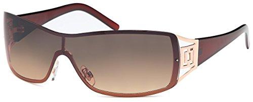 Sonnenbrille Monoscheiben Brille Damen Herren Sonnenbrillen Retro B552 Braun/Dunkel