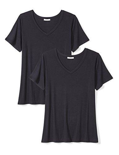 5 Womens V-neck T-shirt (Daily Ritual Women's Plus Size Jersey Short-Sleeve V-Neck T-Shirt, 2-Pack, Navy, 4X)
