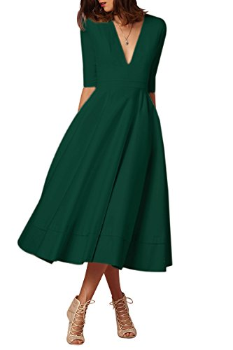 YMING Femme Robe Manches Longues Vintage Col V Swing Cocktail Grande Taille Robe,Vert,XXL