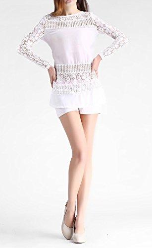 QIYUN.Z Les Femmes De Couleur Unie Chemise Blouse De Dentelle Crochet Cru Minces Manches Longues Ajustement Blanc