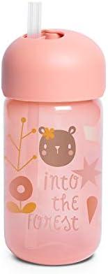 Suavinex 401205 Bicchiere Baby Training Cup Con Cannuccia Flessibile E Sistema Antigoccia, Da 18 Mesi, Forest
