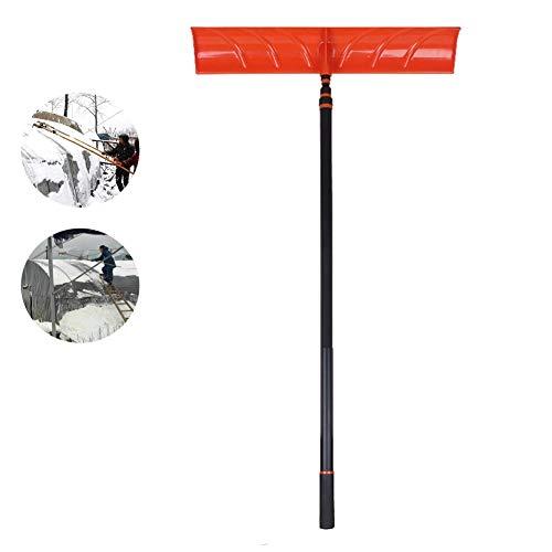 YLOVOW Verstellbarer Dachspatel für Schneeschaufel mit 94,5 Zoll Kunstharzgriff-Langlebiger Multi-Werkzeug-Schwader ohne Stockklinge Ideal für Schnee, Blätter und Ablagerungen Einfache Handhabung