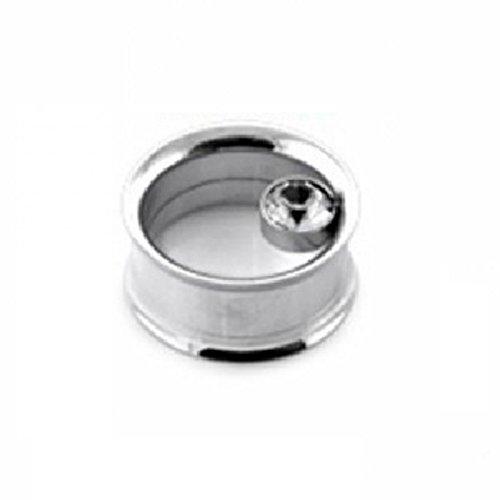 Stahl - Tunnel - Double Flare - Kristall (Piercing Flesh Tunnel Ohr Plug für gedehnte Ohren Lobes Tubes silber)