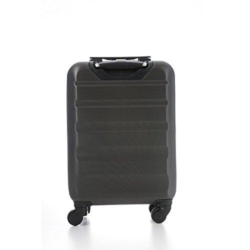 Aerolite Leichtgewicht ABS Hartschale 4 Rollen Handgepäck Trolley Koffer Bordgepäck Kabinentrolley Reisekoffer Gepäck, Genehmigt für Ryanair, easyJet, Lufthansa und viele mehr 3 Teilig Kohlegrau - 4