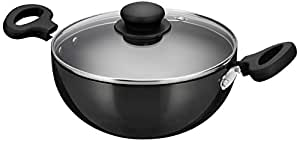 Amazon Brand - Solimo Hard Anodized Kadai with Glass Lid, 20 cm, (Induction and Gas Compatible), Black