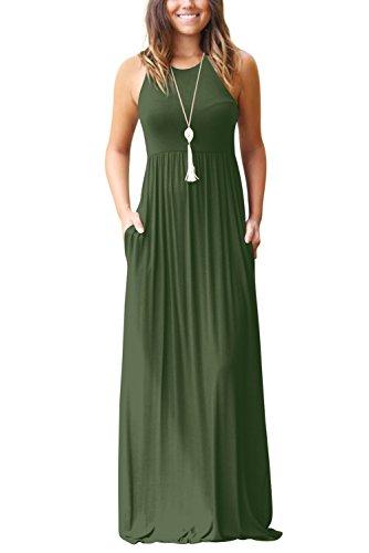 Ärmellos Damen Sommerkleider Sexy Lang Kleid Armeegrün Langes Kleider XXL (Langes Kleid Sexy)