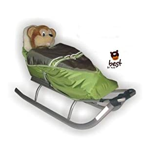 Best For Kids sledges for children with footmuff, backrest and push handle - multifunctional- color choice EU product (apple-olive, gray)