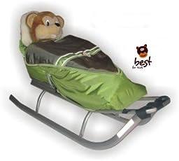 Best For Kids Schlitten für Kinder mit Fußsack, Rückenlehne und Schiebegriff - multifunktionell- Farbwahl EU Produkt