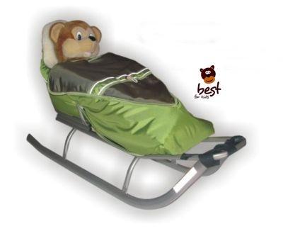 Best For Kids Schlitten für Kinder mit Fußsack, Rückenlehne und Schiebegriff - multifunktionell-...