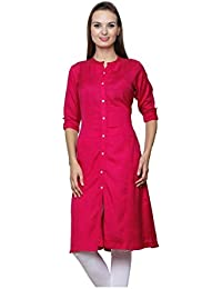 Pistaa Women's Best Solid Cotton High Quality Casual Rani Pink Kurta With Plus Size