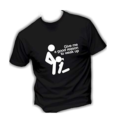 T-Shirt Uomo Cotone Basic Super vestibilità Top qualità - Give Me A Good Reason TO Weak UP Divertenti Humor Made in Italy (XL, Nero)