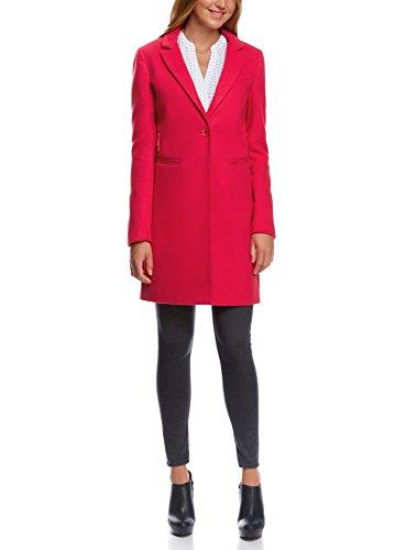 oodji Ultra Damen Klassischer Mantel mit Ein-Knopf-Verschluss, Rosa, DE 42 / EU 44 / XL