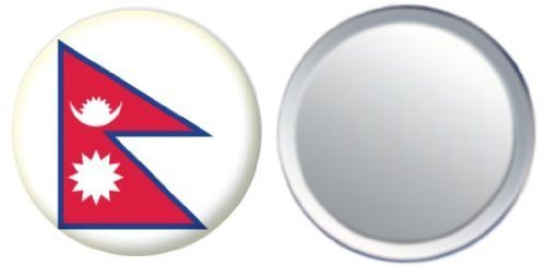 Miroir insigne de bouton Népal drapeau - 58mm