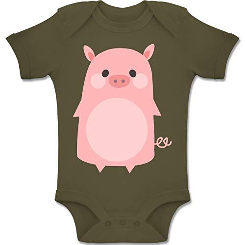 Shirtracer Karneval und Fasching Baby - Fasching Kostüm Schweinchen - 6-12 Monate - Olivgrün - BZ10 - Baby Body Kurzarm Jungen (4 Jahreszeiten Kostüm Ideen)