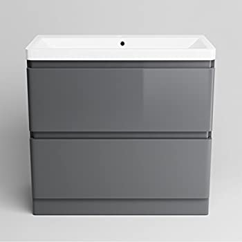800 mm Grey Vanity Sink Unit Ceramic Basin Bathroom Drawer Storage Furniture