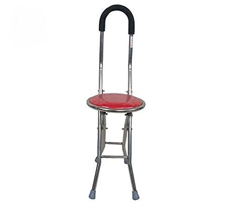 LIUYU Old Man Crutch Stool Older Folding Walker à quatre pattes Foot Stick Red,2