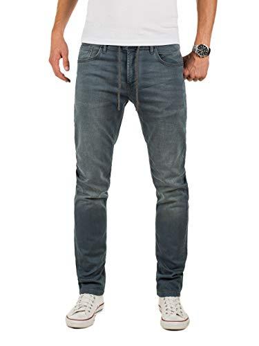 Yazubi Herren Sweathose in Jeansoptik Erik - Jogging Jeans Herren - graue Jeanshose - Slim-Fit Denim Jogger, Grau (Turbulence Grey 194215), W32/L34 -