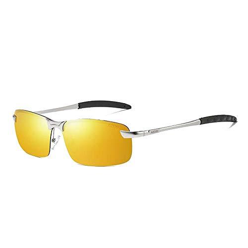Easy Go Shopping Herren Polarisierte Gläser Driving Lightweight UV Cut UV Cut Sport Tennis Sonnenbrille Sonnenbrillen und Flacher Spiegel (Color : Gelb, Size : Kostenlos)