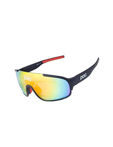 CUKKE Unisex Fahrradbrille, Polarisierte Sport Sonnenbrille für Herren Damen, Sportbrille mit 3 Austauschbaren Linsen zum Radfahren, Klettern, Sports, Fahren (Frame:Schwarz,Lens:Rot)