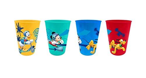 4 x Kinder Trinkbecher 260 ml/wählbar: Spiderman - Batman - Thomas - Mickey/Becher Glas aus Kunststoff BPA frei/Geschenk für Jungen (Design Mickey Mouse)