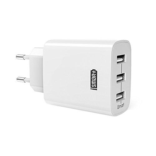 RAVPower Cargador Móvil Con 3 Puertos USB (30W, 5V/6A), Con Una Corri
