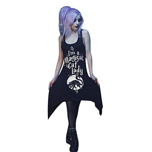 Kostüm Black Girl Mask - Daygeve Retro Vintage Karneval Gothic Steampunk Styles Princess Cosplay Party Vampir Kostüm, Dame Girls Fashion Funny Cat gedruckt Midi Black Gothic Sommer ärmelloses Kleid