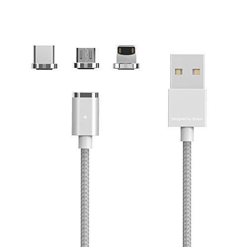 WSKEN Mini 2Magnetische USB-Kabel, 3-in-13.28ft Nylon, geflochten, schnelle Aufladung, mit LED-Licht, mit 8Pin Lightning/Typ C Micro-USB-Anschluss (samsungs8/S7/S6, IphoneX/8/7, HTC