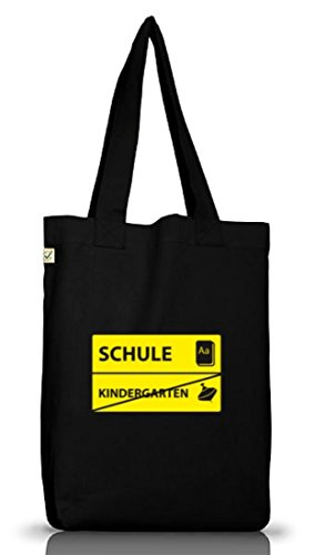 Shirtstreet24,Kindergarten - Schule, Schulanfänger Jutebeutel Stoff Tasche Earth Positive (ONE SIZE) Black