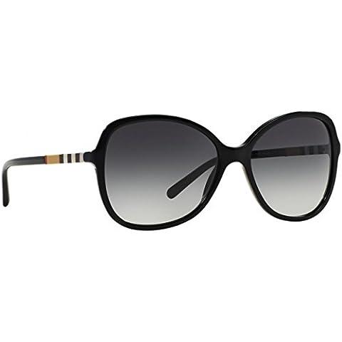 Burberry Unisex Sonnenbrille BE4197, Schwarz (Gestell: Schwarz, Gläser: Grau-Verlauf 30018G), Large (Herstellergröße: 58)