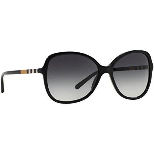 Burberry Unisex BE4197 Sonnenbrille, (Gestell: schwarz, Gläser: grau-verlauf 30018G), Large (Herstellergröße: 58)