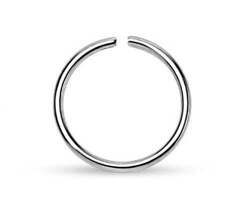 Akki Piercing Schmuck,Edelstahl 316 L Chirurgenstahl Nasenpiercing Nasenring Fake Hoop Ring,8MM stecker gold schwarz oder silber Silber (Schal Ringe Lila Box Schmuck)