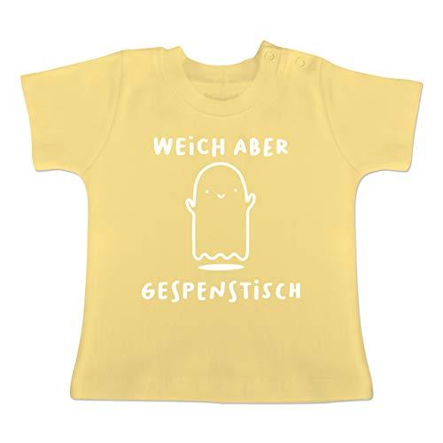 (Anlässe Baby - Weich Aber gespenstisch Halloween - 6-12 Monate - Hellgelb - BZ02 - Baby T-Shirt Kurzarm)