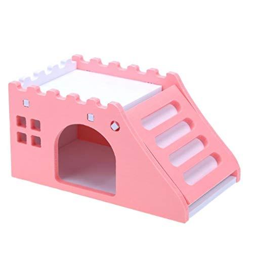 LnLyin Hamster Schlafendes kleines Haus Doppeldecker Hamster Cage Pet Supplies Kleine Tiere Castle Hamster Spielzeug, Pink