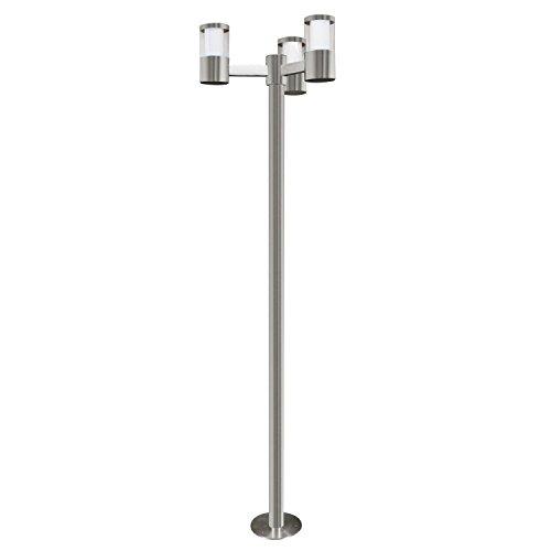 Exklusive LED Stehlampe Edelstahl Klar Weiß Höhe 190cm 3-flammig Zylinder 960 Lumen 3000K Außenleuchte Terrassenleuchte Gartenleuchte Sparlampe LED-Leuchte Lampe -