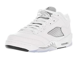 Nike Mädchen Air Jordan 5 Retro Low GG Laufschuhe, Weiß / Schwarz / Grau (Weiß / Schwarz-Wolf Grau), 36 1/2 EU