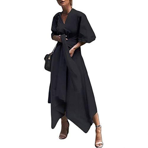 YuJian12 Sommerkleid Vintage Lange Maxikleid Frauen Kurzarm Sexy V-Ausschnitt Asymmetrische High Waist Party Plus Size-in Kleider von Frauen -