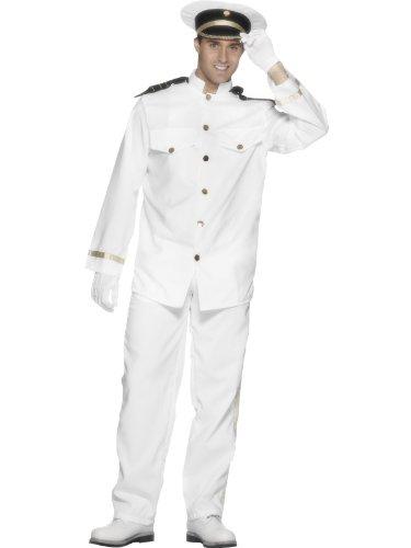 Karneval Herren Kostüm Schiff Navy Kapitän Marine Uniform weiß Gr.M (Navy Uniform)