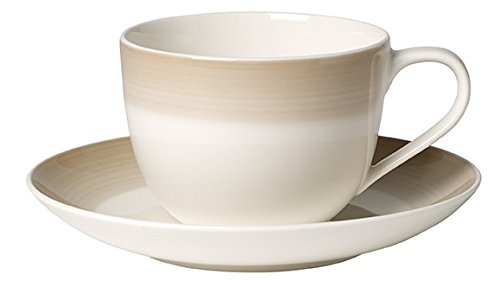 Villeroy & Boch Colourful Life Natural Cotton Kaffee Tasse mit Teller, 2Stück, Premium Porzellan,...