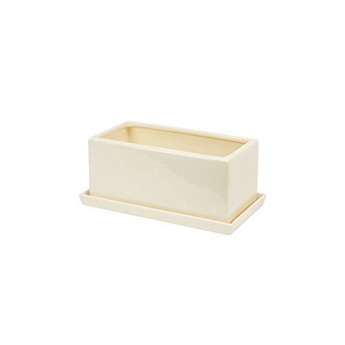 ceramic-flowerpot-ritz-with-saucer-tray-11-cm-height-cream-colour