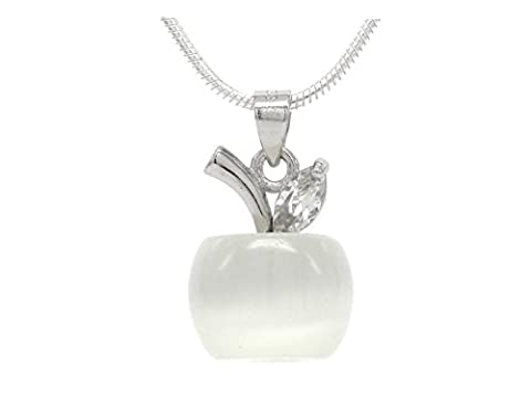 White apple moonstone necklace with real silver necklace and clear